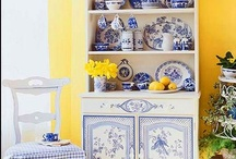Blue/White/Yellow / There is NO color combination that makes me happier than these...Blue/White/Yellow! I LOVE, LOVE, LOVE it. I've recently purchased a very average house which I will eventually rent out. But first I'm decorating it in MY signature colors. I painted the entire interior the most wonderful yellow and all of the trim white semi-gloss. Next I had new carpeting installed throughout in a beautiful neutral gray...not pale, but not charcoal either.  Now for the furnishings and decor...FUN, FUN, FUN! / by Ruth Anders Graber