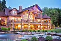Log Cabin Dream Home / 7 Bedrooms (4 2nd floor, Master 1st floor, 2 in cabin), Walk-in Closet, 8.5 Bathrooms (5 2nd floor, 1 1st floor, 1 half bath on 1st floor, 1 basement, 1 cabin), Living room , T.V. room, Man Cave , Huge Kitchen, Pantry, Breakfast Nook, Bar Outside from Kitchen, Laundry room, Mudroom, 3-Door Garage, Office, Canning/Storage room, Game room.   Yard; Pool, 1.5 Acre Garden, Veggie Garden  Cabin; Small Living room, Small Kitchen, Bathroom, Deck  Shed; Garden, Pool / by Makayla Pollock
