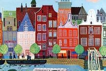 kunst - architecture  / Illustrations of buildings, houses, construction. / by Dot Van Deest