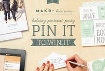 """#PinterestParty with #Makr / Makr and I are giving away a $100 credit + free shipping. To enter make a board titled """"#PinterestParty with #Makr"""" and pin something you've designed on the app (invite, menu card, etc.). You can also include anything that you would want at your party. Make sure to tag your images with #MakrPinterestParty. Email a link to your board to katie@hellohellodesign.com with the subject: Pinterest Party with Makr. Entry must be received by 11/24/13. Announcement will be made on my blog. Link in profile. / by Katie Evans!"""