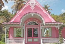 Pink House Love**** / I love pink houses but they have to be the perfect pink,I actually grew up in a pink house and told my parents that when I grew up would marry my Daddy in the neighborhood pink church! / by Diane Freyer