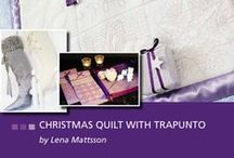 """465 - Christmas Quilt with Trapunto - August 2013 / Create lovely home decor for Christmas! This collection includes both endless designs and designs that begin with 4 stitches for easy matching when creating All Over-embroidered fabric. When embroidering these designs, use the creative™ Endless Hoop 180x100/7""""x4 or creative™ QUILTER´S HOOP 200x200/8""""x8"""". Item# 821 040 096 / by PFAFF®"""
