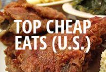 """Best Cheap Eats in the U.S. 2013 / """"Cheap Eats"""" are restaurants with the $ classification on Urbanspoon. These spots received the most coverage via diner reviews, blog posts, critic reviews, and votes on Urbanspoon in 2013. / by Urbanspoon"""