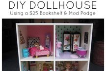 Dollhouse DIY / DIY ideas for dollhouses, dollhouse furniture, and miniatures using cheap items - bookshelves, mod podge, dressers, and other household items.  I'm planning on creating a dollhouse for my five year old daughter for Christmas and am looking for great, creative ideas!  / by Sarah Brailsford Coggins