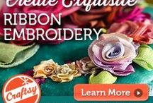"""My Craftsy Class, """"Embroidering with Ribbon"""" / Embrace the twists and turns of ribbon for exquisite results! My class shows you how to embroider with hand-dyed silk ribbon for lovely, textural effects.   / by Mary Jo Hiney"""