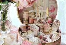cottage shabby chic / Pink, lacey, feminine,, roses, chintz, crystal, ruffles, lovely, soft, cozy / by Alice Sheppard