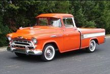 Favorite Trucks / I love old trucks.  My own personal ride is a frame-off custom restored '52 Chevy street rod. V8.  Modern chassis.  All original sheet metal up top. / by Mike Milliorn