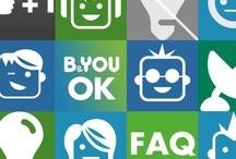 Pictos du site Internet / Ces pictogrammes vous aident à vous repérer dans les rubriques Assistance et Vos idées de www.b-and-you.fr / by B&YOU