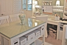 Crafty or Office Spaces / Well, being an avid crafter, I have to have a cool craft space.  Right now, I have a space, but it is over run and shared with my husband....half my craft space/half his office.   These are just dream spaces I would love to have. / by Judine Pottmeyer