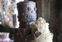 robot and zombie cakes (blood ahead)  / by A Cake To Remember LLC --Kara Buntin