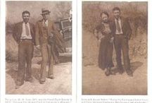 Bonnie & Clyde / Bonnie Elizabeth Parker and Clyde Chestnut Barrow  were  American outlaws,who traveled the Central United States during the Great Depression.  Officially, the tally in parish coroner Dr. J. L. Wade's 1934 report listed seventeen separate entrance wounds on Barrow's body and twenty-six on Parker's, one shot had snapped Barrow's spinal column. So numerous were the bullet holes that undertaker C. F.Bailey would have difficulty embalming the bodies because they wouldn't contain the embalming fluid. / by Amanda M Andrews