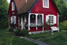 Red, white, blue and yellow cottage / by Linda Scats