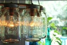 A-Mason Jars / Mason Jars. In case you haven't heard, they're a thing. Painted, sanded, sparkled, stenciled, rustic and modern. Versatile, cheap, adorable. #masonjars / by Susan@CountryDesignHome