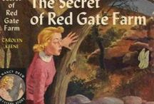 Nancy Drew: REDGATE FARM / As the automobile descended into the valley, the girls caught a better glimpse of the huge red barn, the various outbuildings and the large rambling farmhouse which was covered with vines.  Bright red geraniums peeped from the window ledges; a freshly painted picket fence surrounded the yard, giving a home-like and hospitable look. / by Janice Lawson