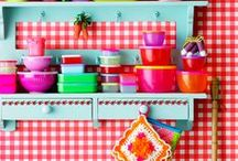 Retro Kitchen  / My Kitchen Inspiration-- I have a small outdated kitchen that we are not allowed to revamp. Simple Kitchen with bright colors is what I'm going for! / by Alexie M-V