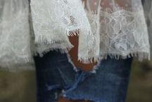 Combinations of denim, velvet,sheer, lace, satin and sequins / Combinations of six fabrics: denim, velvet, sheer, satin, lace, and sequins  / by Ms. RAD