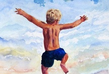 Beach Children, Wildlife, Seashells -  Fine Art by Barbara Rosenzweig - Watercolor Paintings / To discover my work and learn more about me please visit http://BarbaraRosenzweig.etsy.com and http://WatercolorsbyBarbara.fineartamerica.com/  / by Barbara Rosenzweig Art