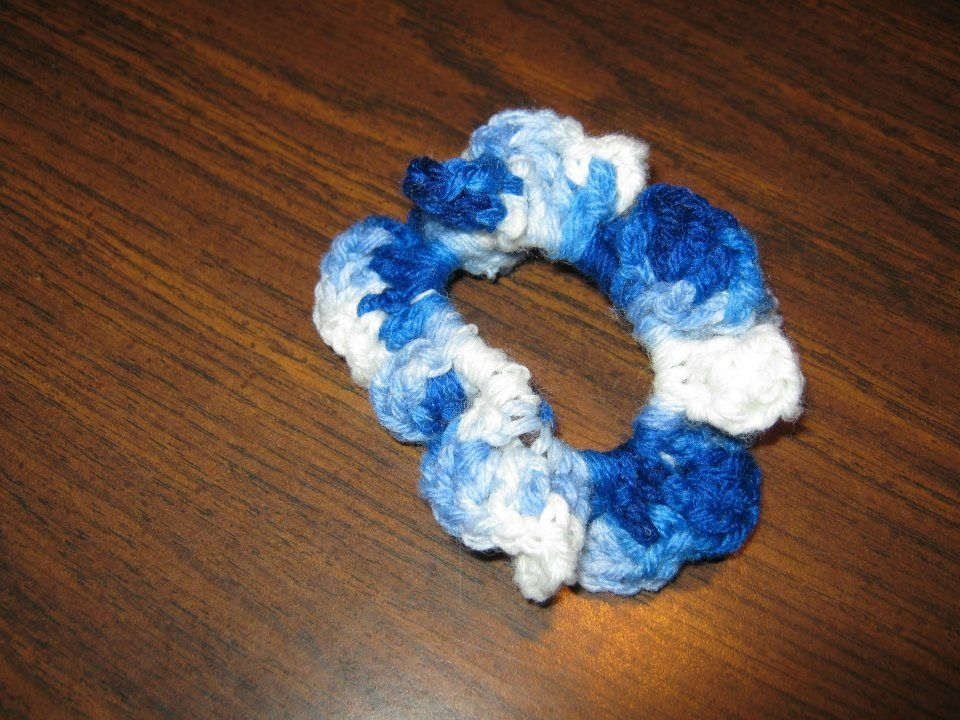 Crocheted hair tie multicolor blue Crafts Pinterest