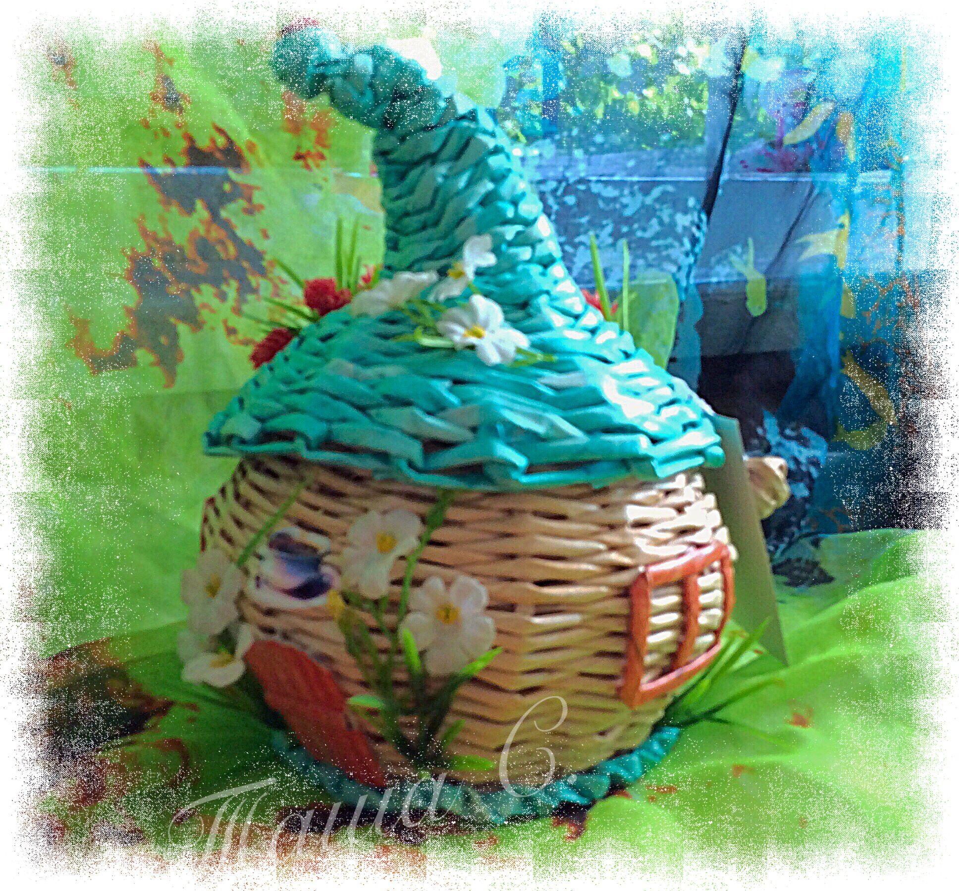 Поделка изделие Плетение Чайный домик Плетение из газет 74