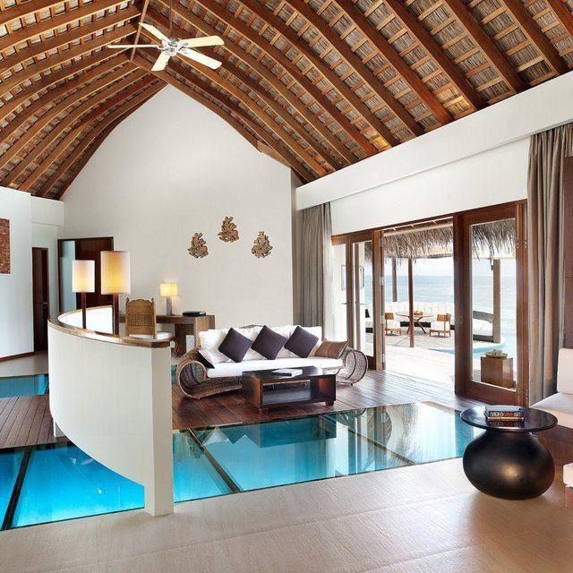 Glass floor over water summer house maldives pinterest for Glass floors in houses