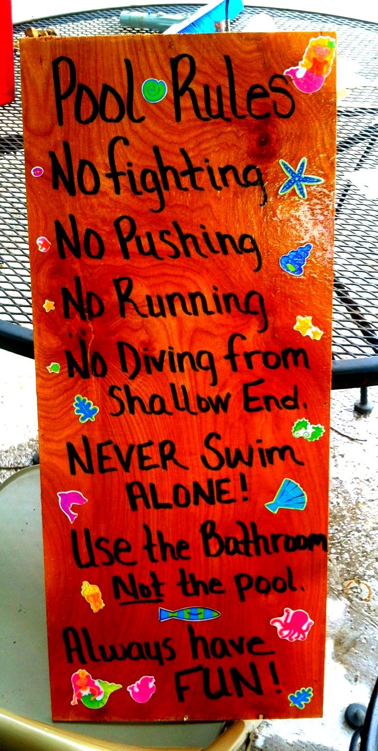 Pool Rules Sign For The Home Pinterest