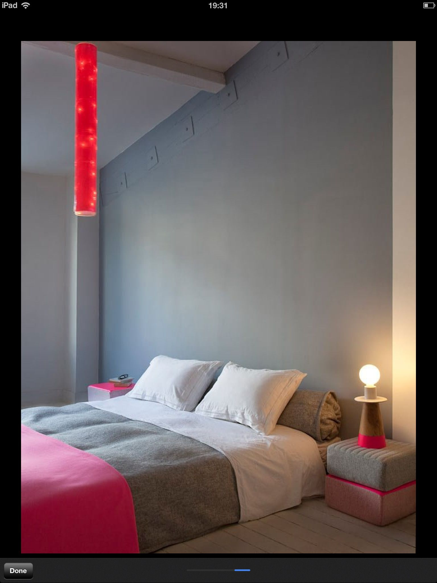 Grey with neon for bedroom