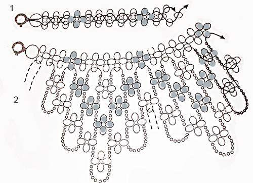 Воротнички из бисера со схемами для начинающих