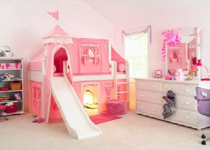 Pink Girly Twin Castle Bunk Bed For Kids Interior Design