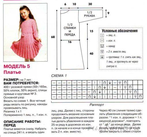 Вязание спицами для девочки платье платья 962