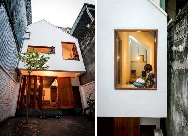 Căn nhà này thuộc sở hữu của một tay chơi guitar ở Hà Nội, được trang web nổi tiếng về kiến trúc, thiết kế - Archdaily bình chọn là một trong những ngôi nhà có kiến trúc độc đáo. So với kiểu nhà truyền thống của người Hà Nội, nhà có thiết kế tương đối bắt mắt.