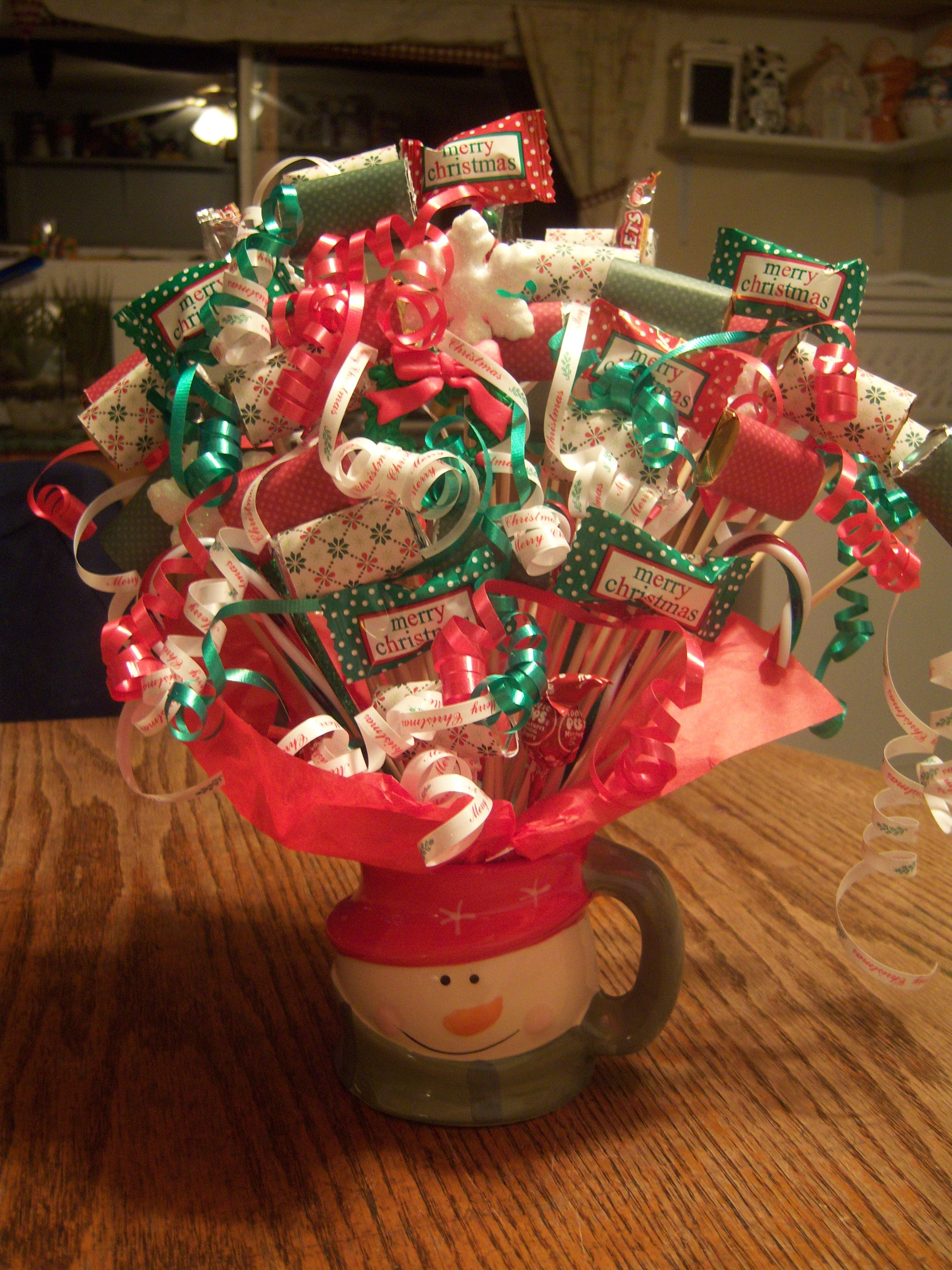 Christmas bouquet green and red candy bouquets pinterest