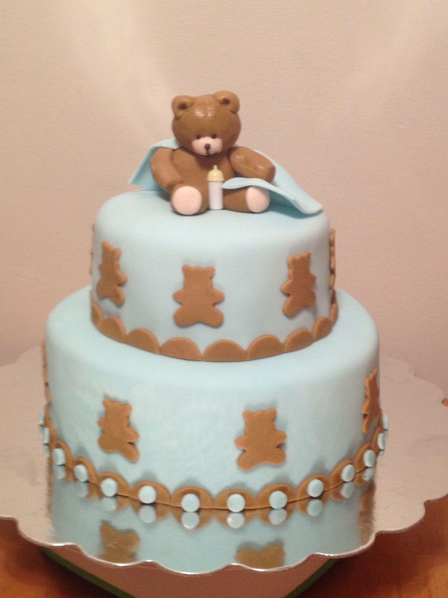 baby shower cake blue teddy bear theme skeeter jeffrey dean pi
