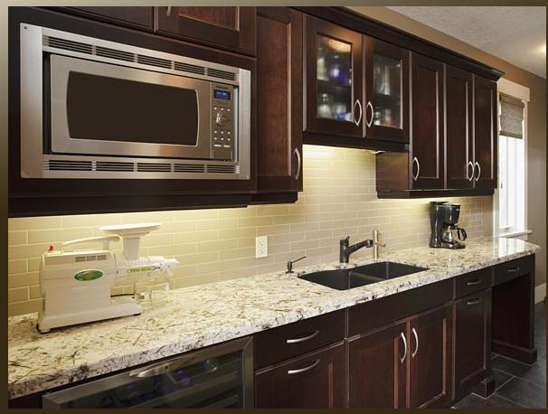 Light granite dark cabinets kitchen pinterest for Dark kitchen cabinets with light granite
