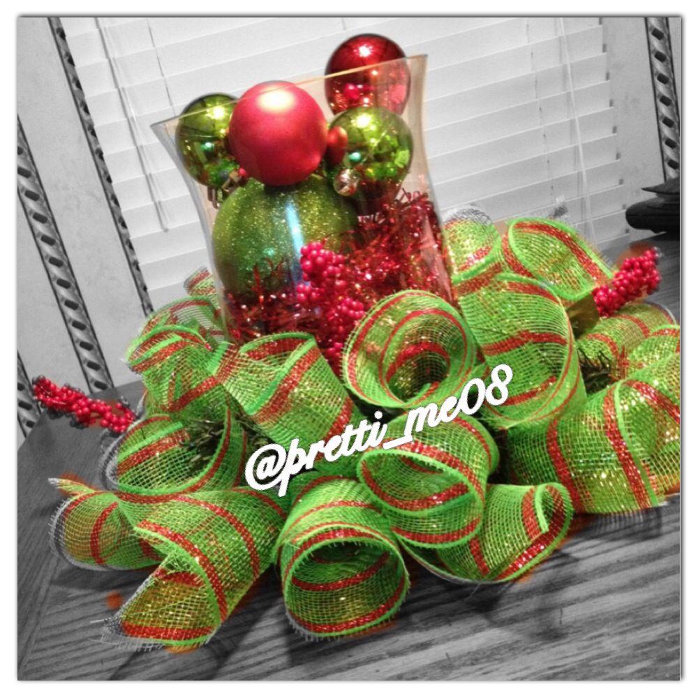 Christmas decor deco mesh centerpiece craft ideas for Deco christmas decorations