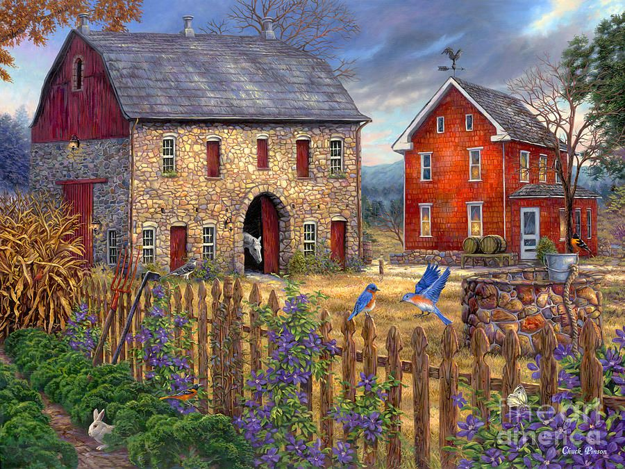 Chuck pinson artwork houses villages pinterest for The country home collection
