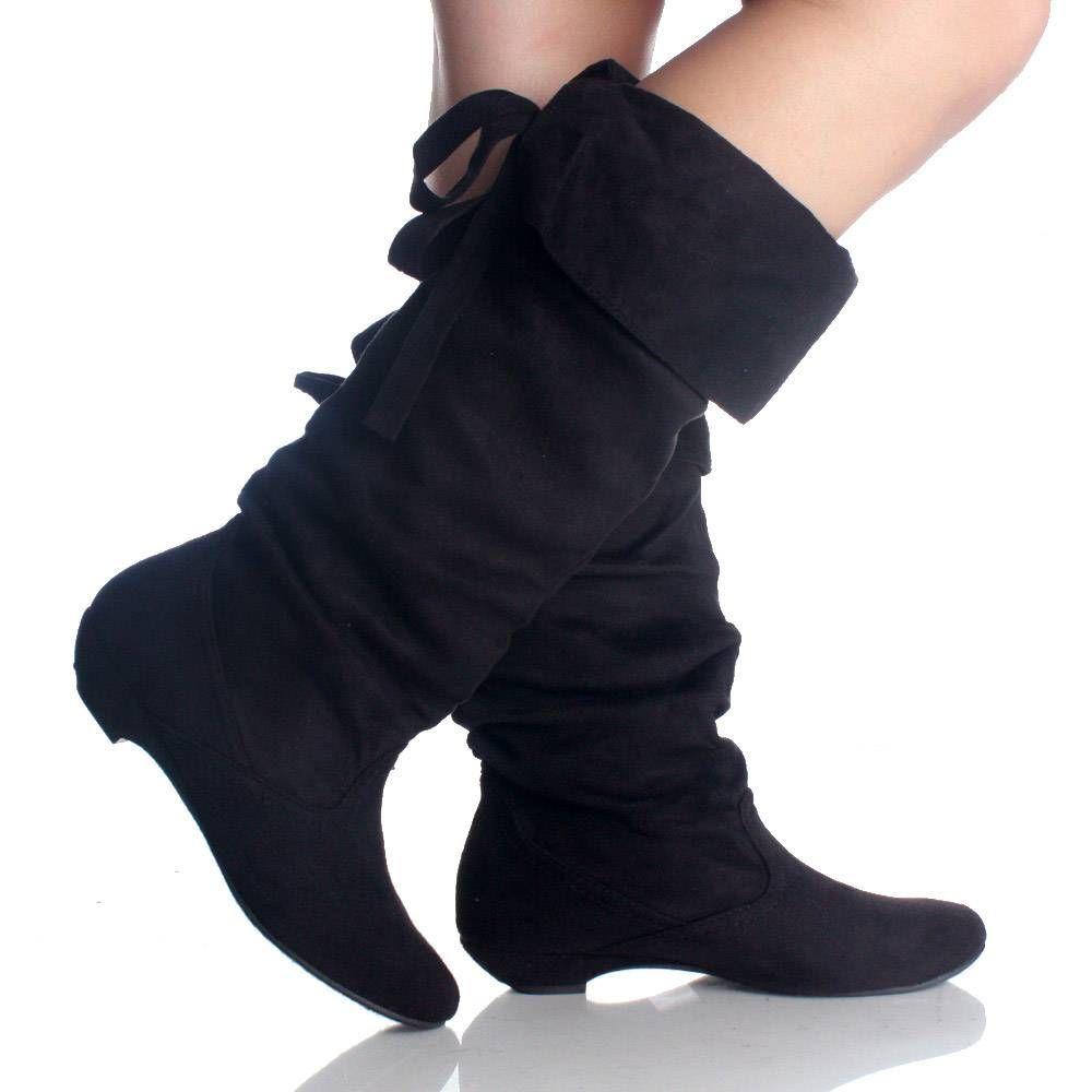 black suede scrunch boot black formal