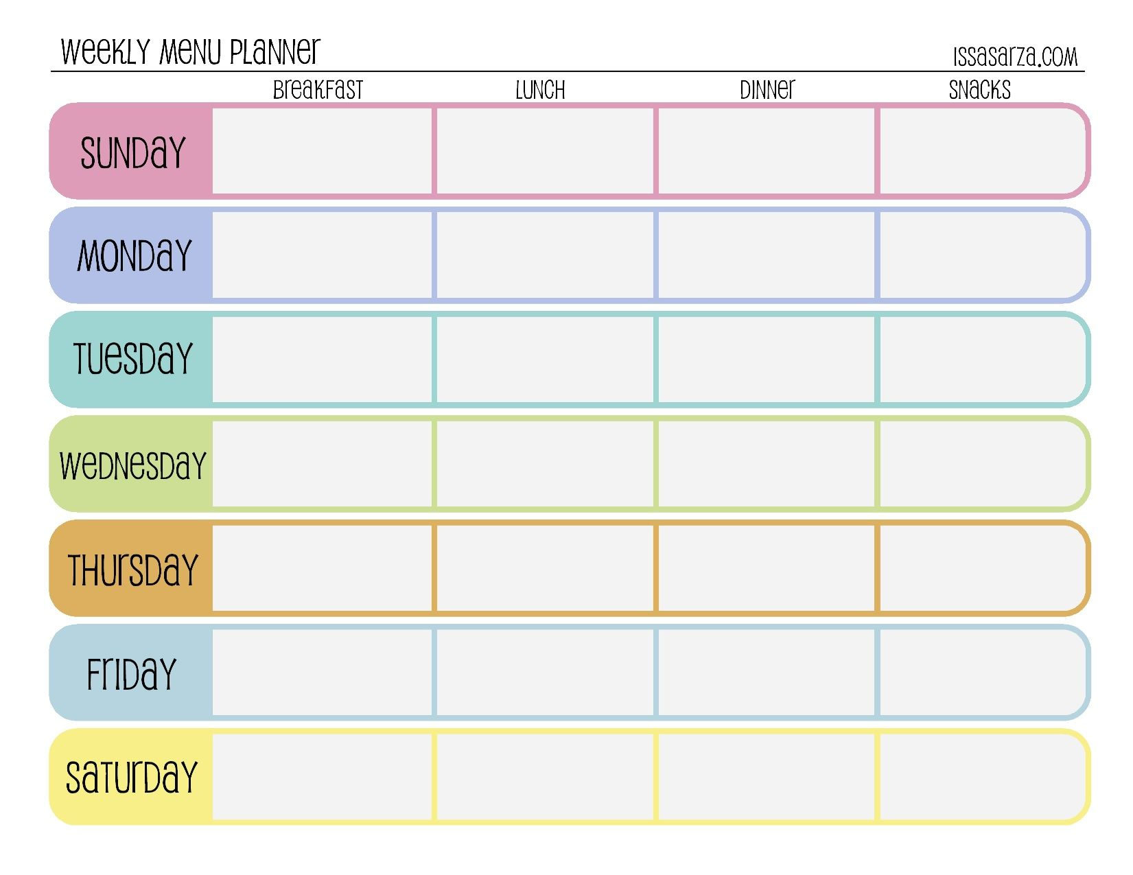 Weekly Menu Planner | fitness | Pinterest
