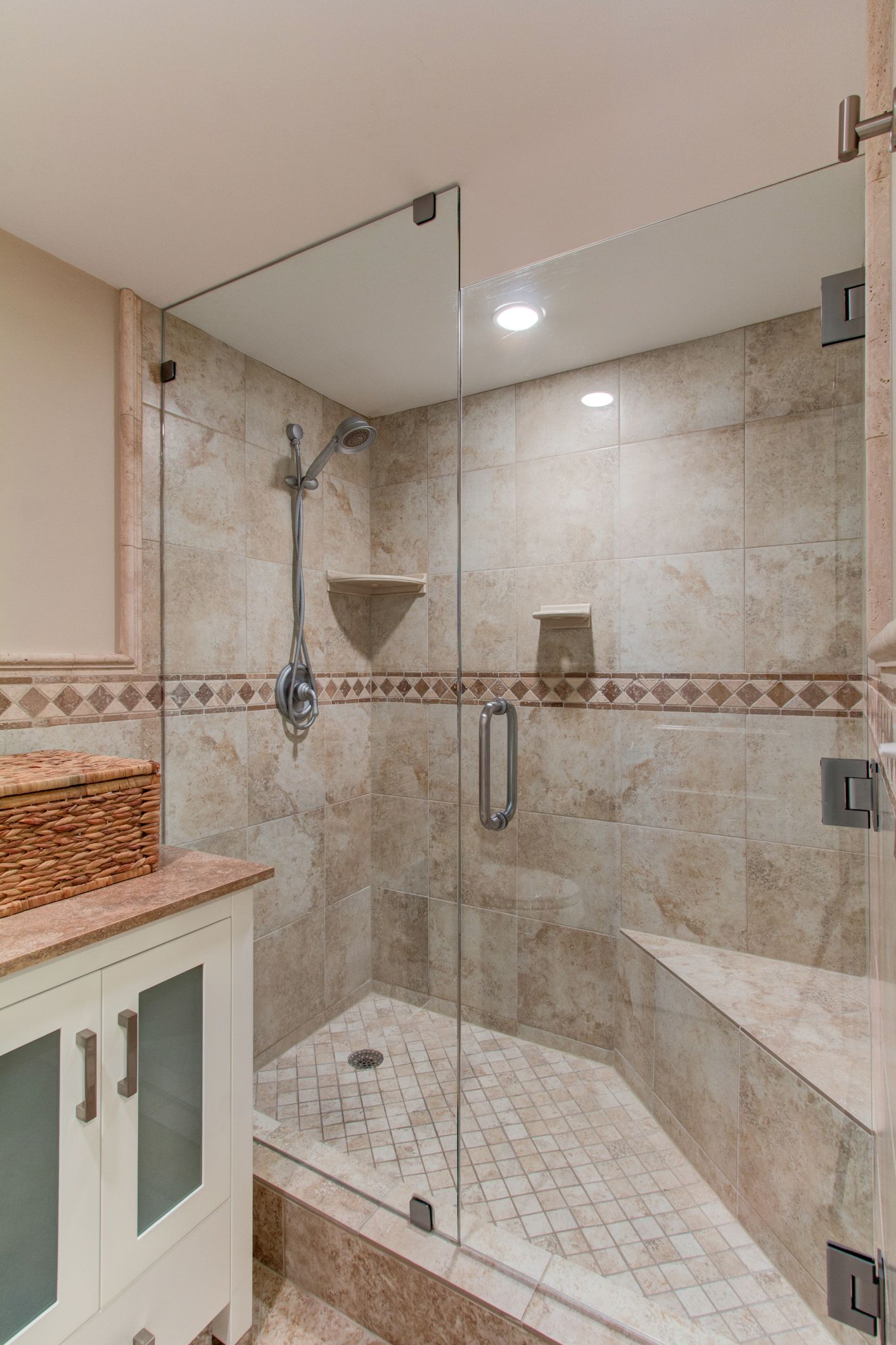 Walk In Shower With Glass Doors Bench Home Sweet Home Pintere