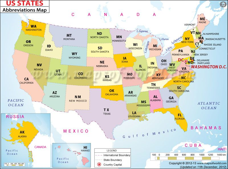 States Of Us With Abbreviations Maps Us State Map