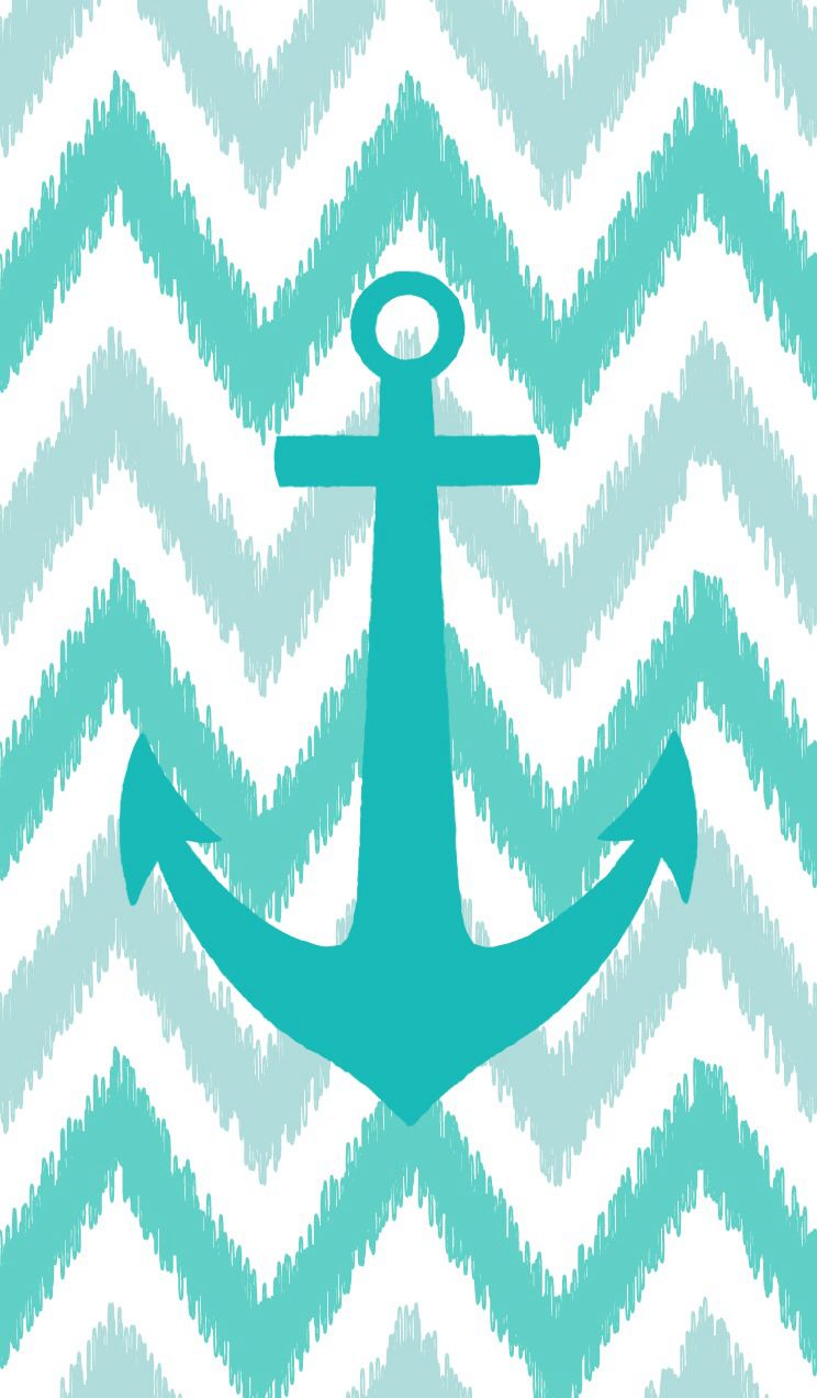 Teal anchor on teal chevron wallpaper junk pinterest for Teal chevron wallpaper