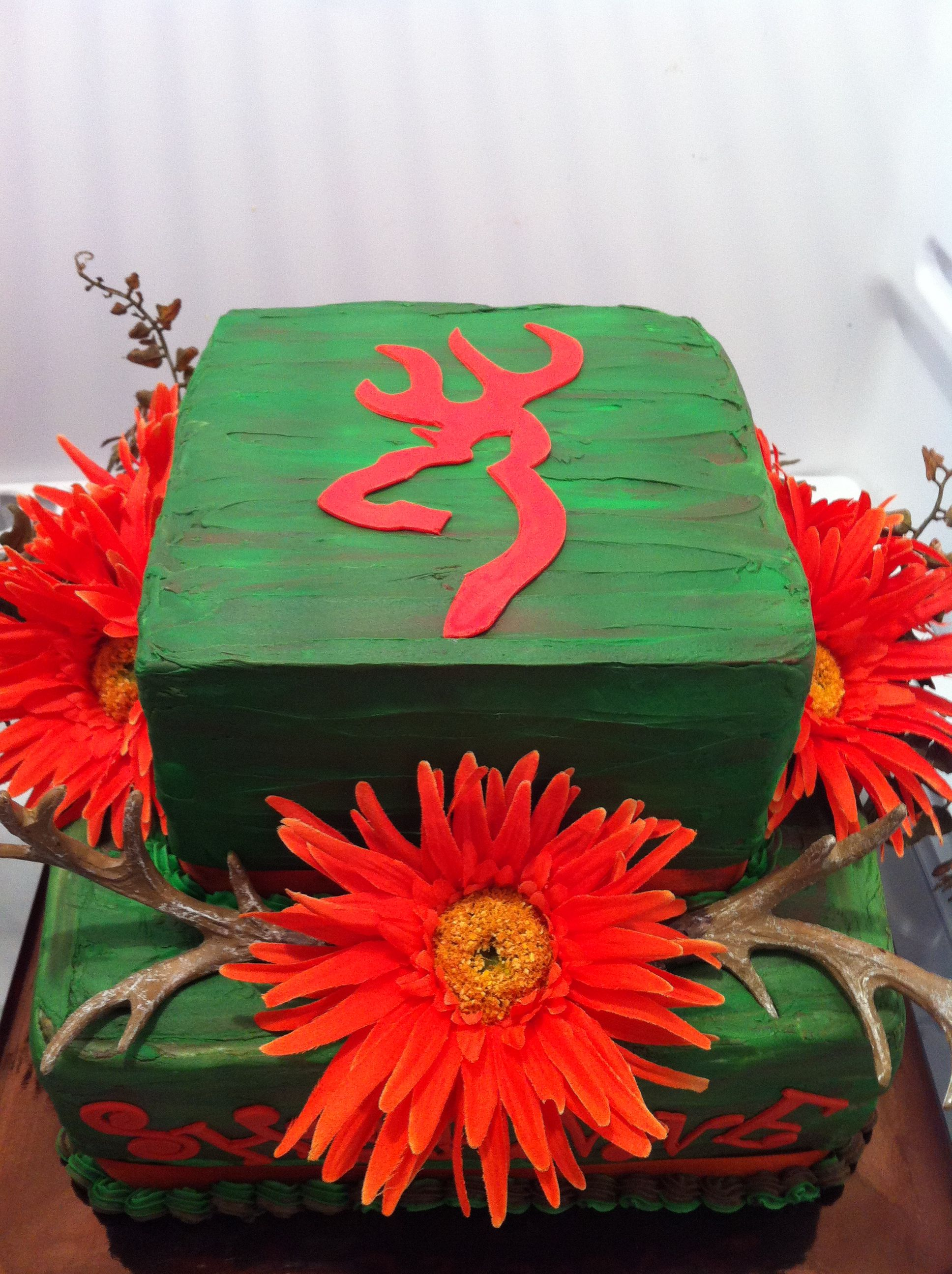 Camo deer head and hunters orange cake my cakes