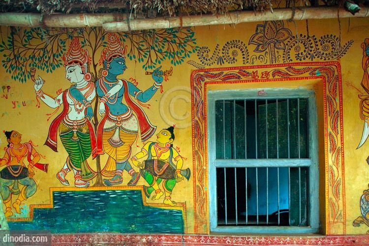 Indian wall mural painting folkart around the world for Asha mural painting