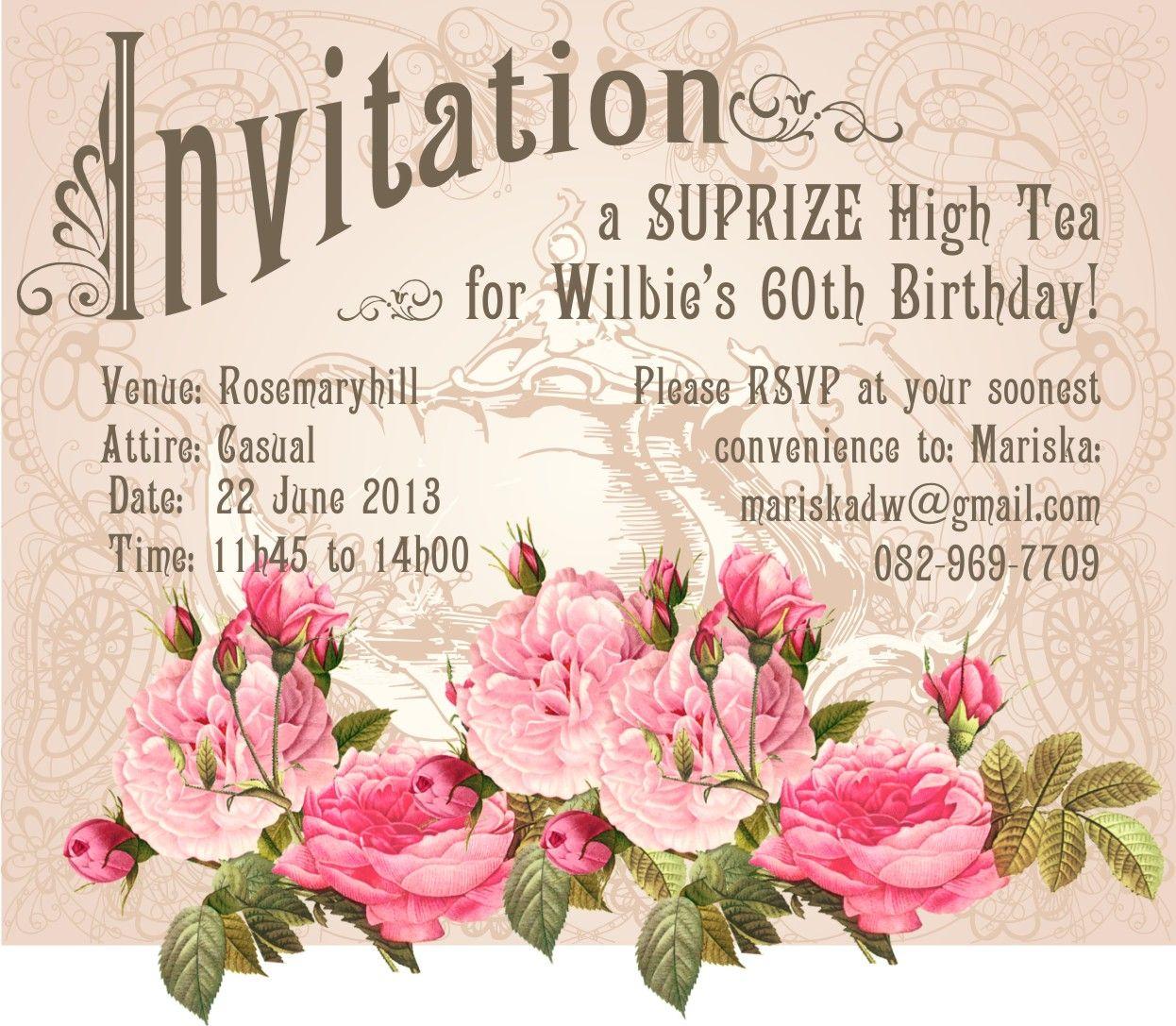 high tea invitation | high tea invitations | Pinterest