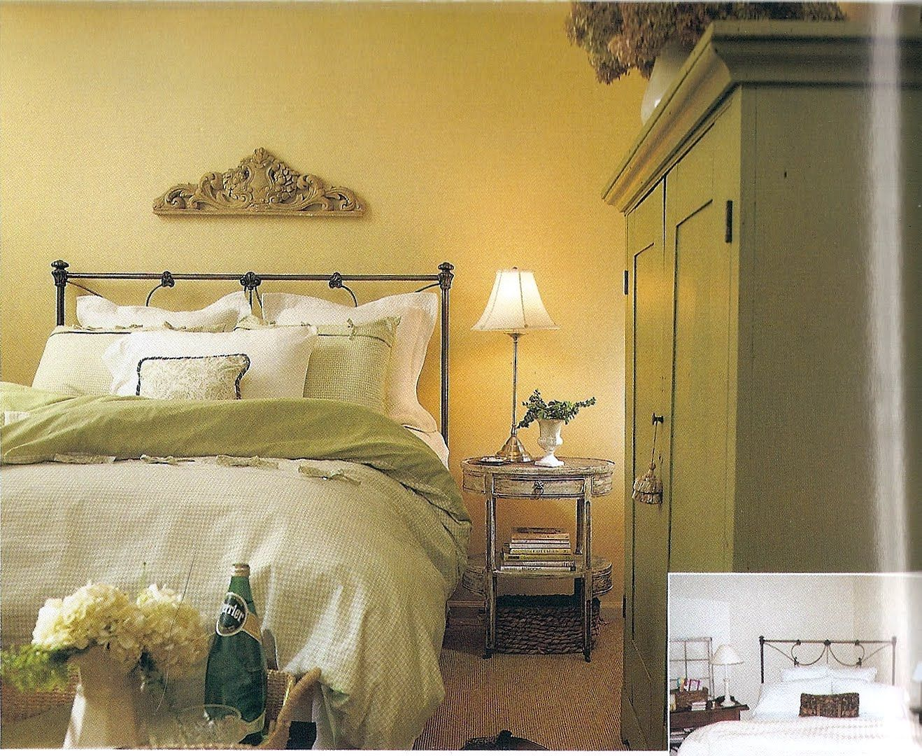 Yellow White Green Bedroom Master Bedroom Pinterest