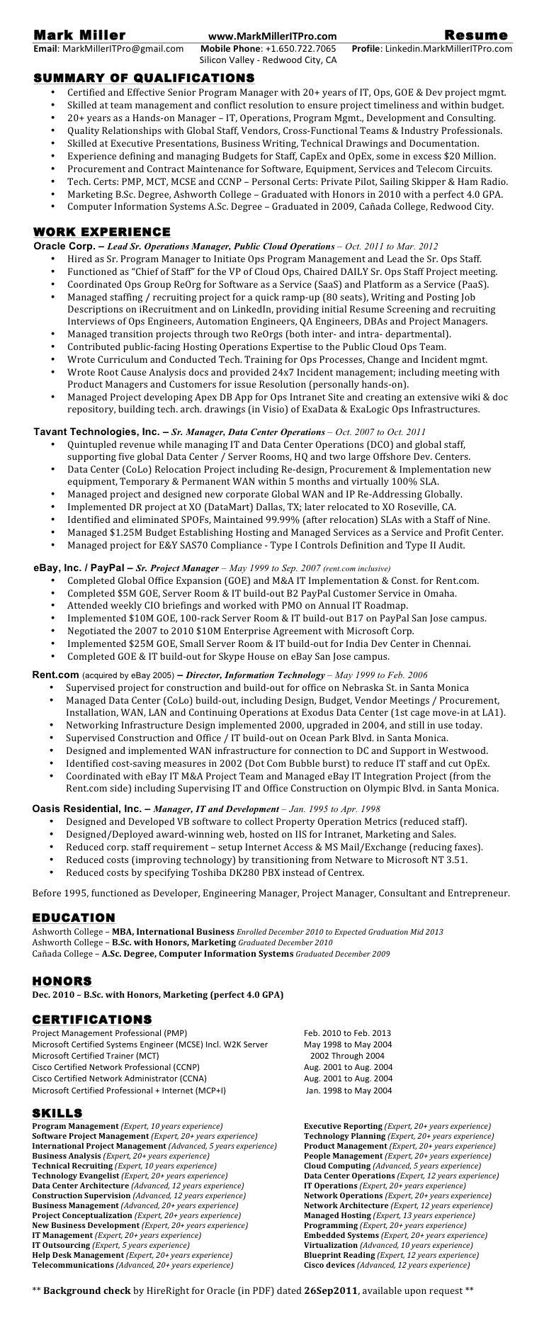 example project manager resume