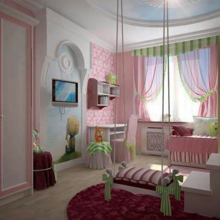 love the swing in the room idea girls rooms