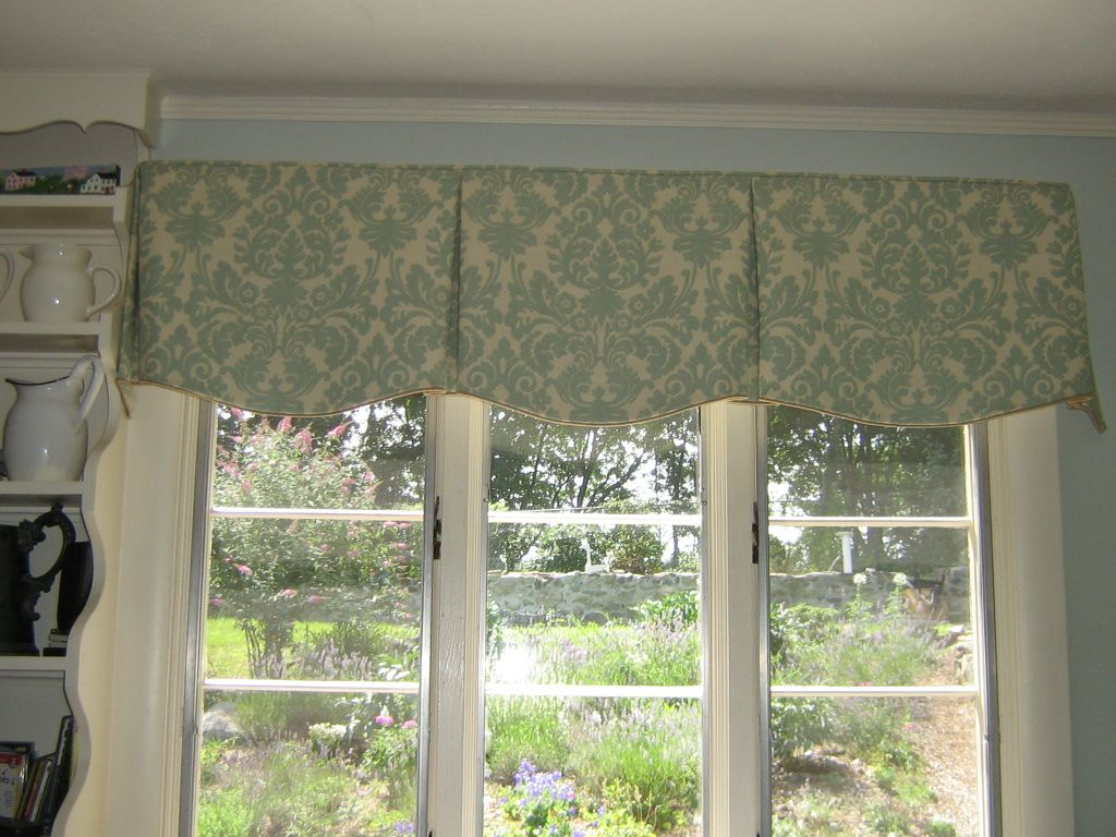Tailored valance shaped box pleats custom window for Window valance