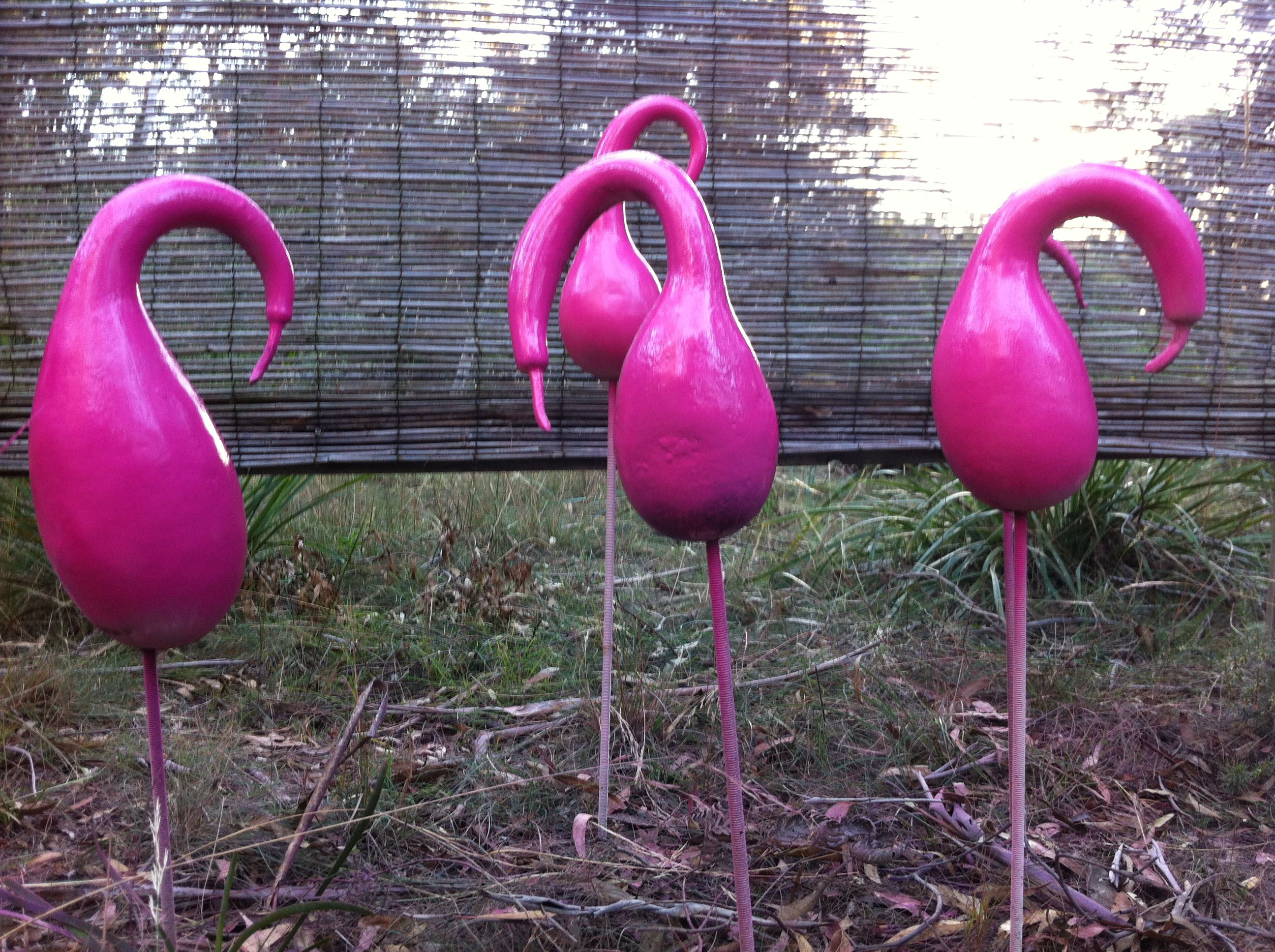 Painted gourds become pink flamingos gourds pinterest