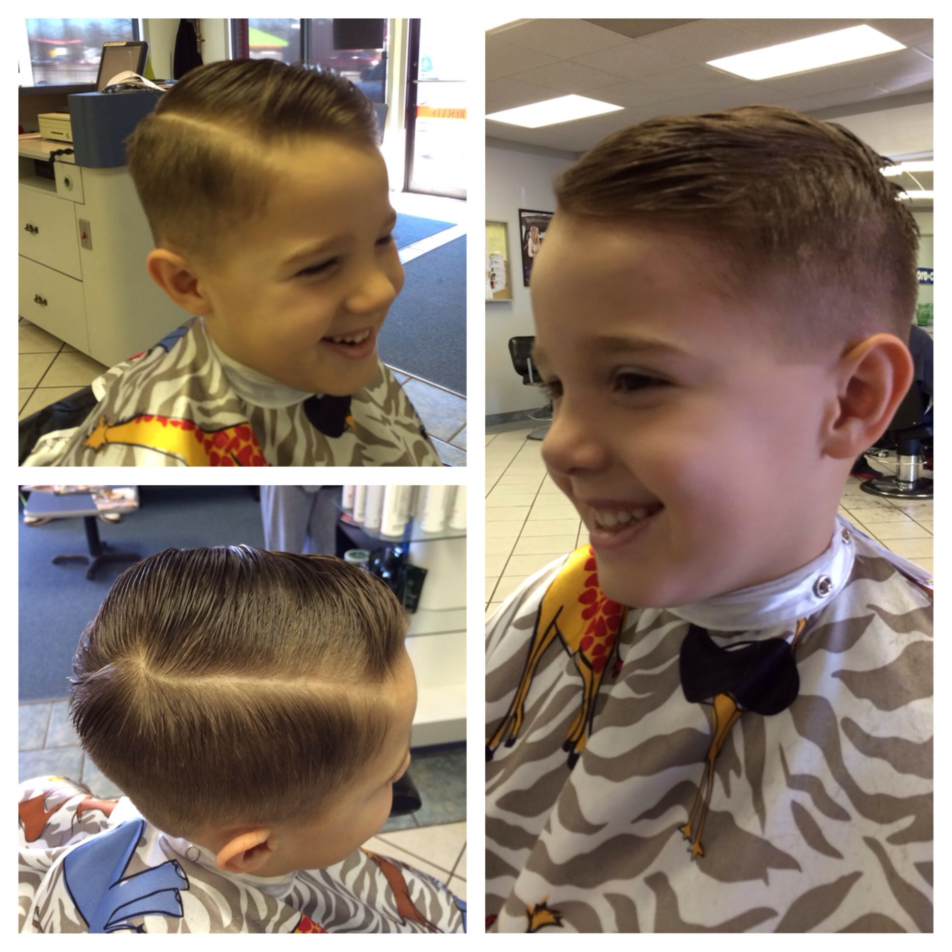 Little boys haircut -1 on the side faded into a razored side part ...