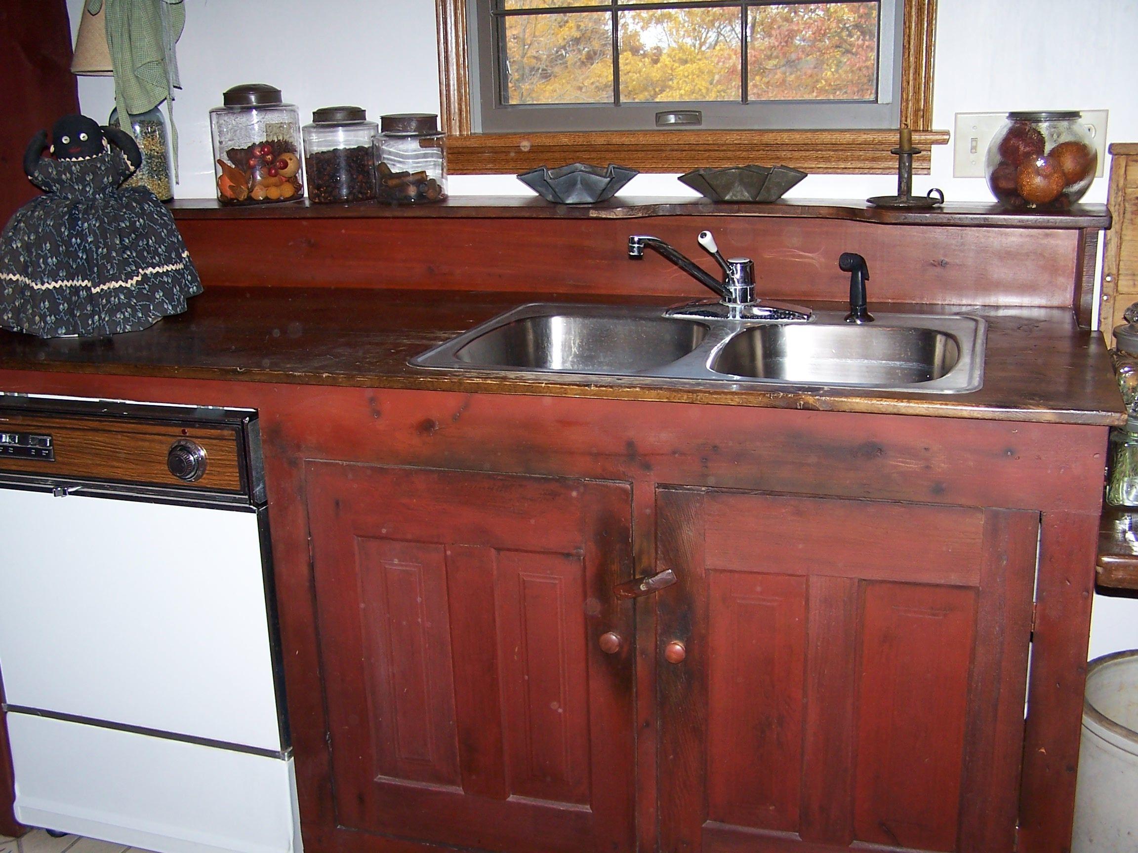 Old red paint sink  KITCHEN  Pinterest